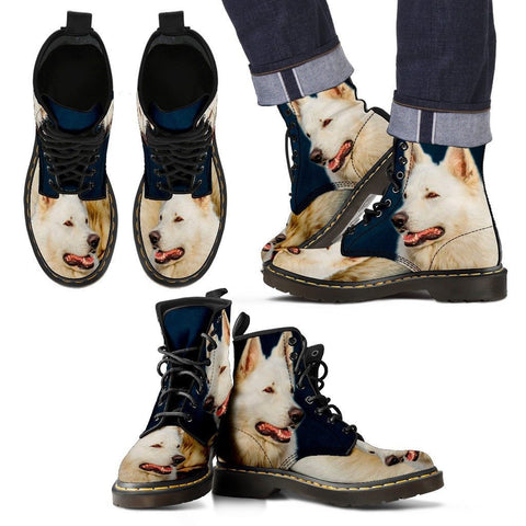 White Shepherd Print Boots For Men Express Shipping