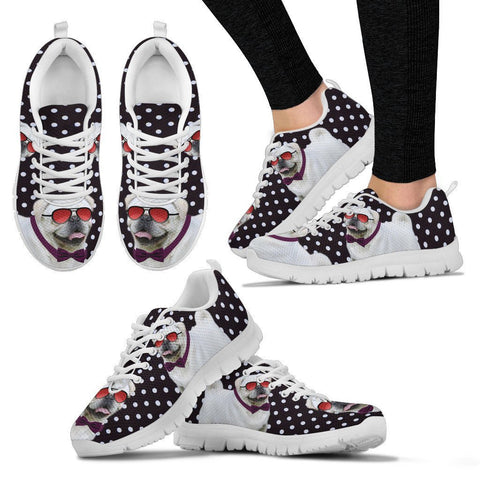 Pug Dog Glasses With Tie Print Running Shoes For Women