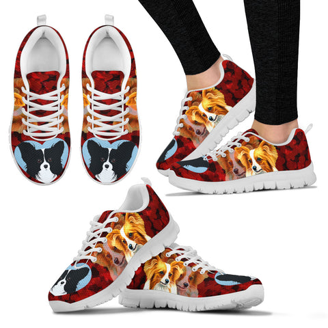 Valentine's Day SpecialPapillon Dog Print Running Shoes For Women