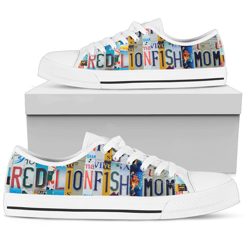 Red Lionfish Low Top Canvas Shoes For Women