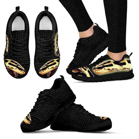 Customized Snake Print(Black) Running Shoes For WomenExpress ShippingDesigned By Tracy Neill