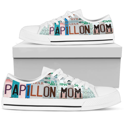 Papillon Mom Print Low Top Canvas Shoes For Women- Limited Edition
