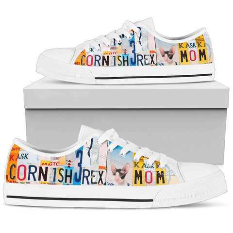 Cornish Rex Mom Print Low Top Canvas Shoes for Women
