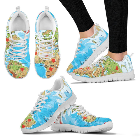 Valentine's Day Special World Map Print Running Shoes For Women