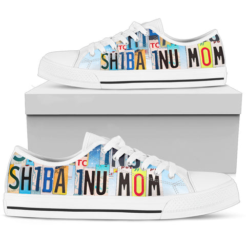 Cute Shiba Inu Mom Low Top Canvas Shoes For Women