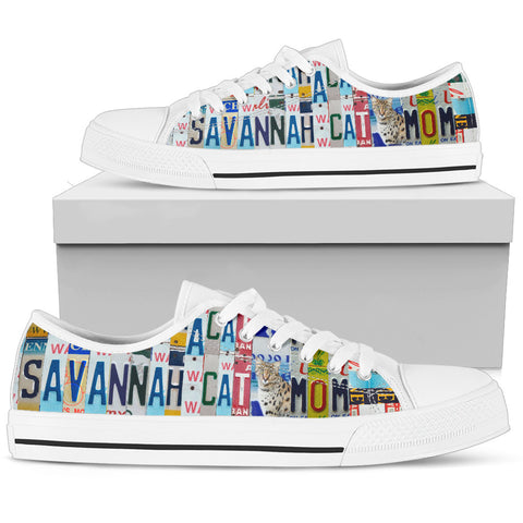 Savannah Cat Print Low Top Canvas Shoes For Women