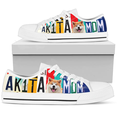 Women's Low Top Canvas Shoes For Cute Akita Mom