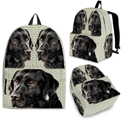 Black Labrador Print BackPack Express Shipping