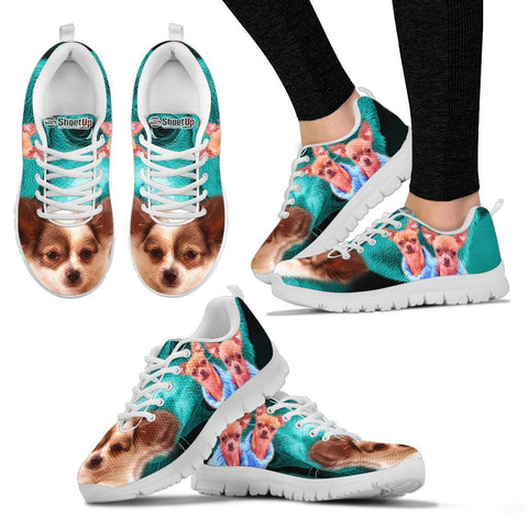 Chihuahua On Deep Skyblue Print Running Shoes For Women