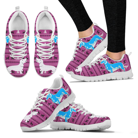 Cute Dachshund Print Christmas Running Shoes For Women