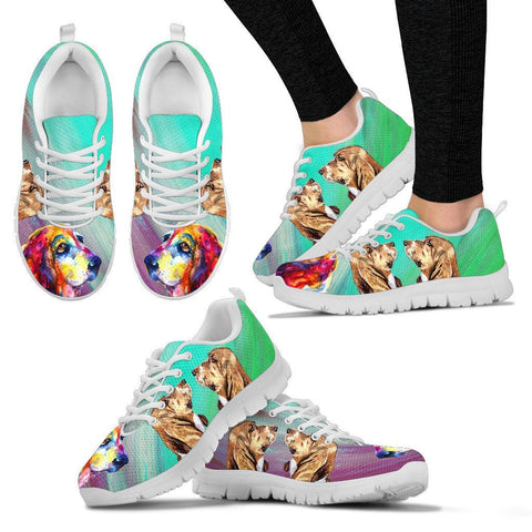 Painted Basset Hound Print Running Shoes For Women