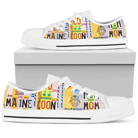 Maine Coon Mom Print Low Top Canvas Shoes for Women