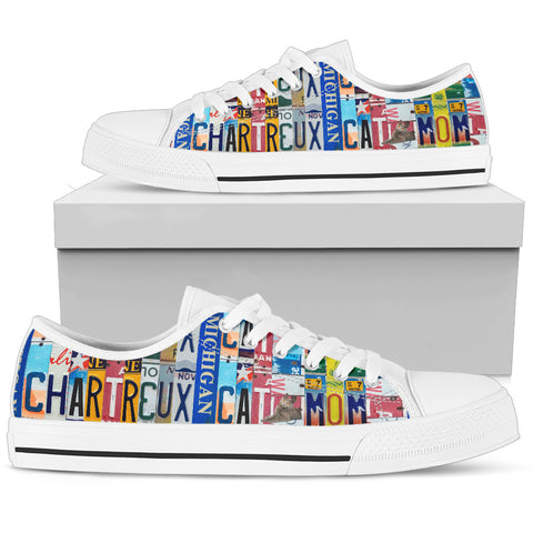 Chartreux Cat Print Low Top Canvas Shoes For Women