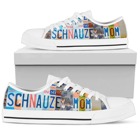 Schnauzer Print Low Top Canvas Shoes for Women