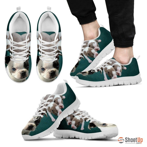 White & Grey Boston TerrierDog Running Shoes For Men Limited Edition