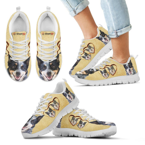 Australian Cattle Dog With Heart Print Running Shoes For Kids