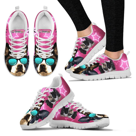 Boston Terrier On Pink Print Running Shoes For Women