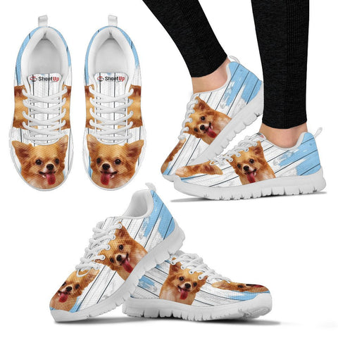 Chihuahua Blue White Print Sneakers For Women