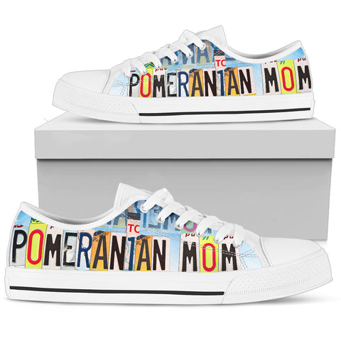 Cute Pomeranian Mom Print Low Top Canvas Shoes For Women