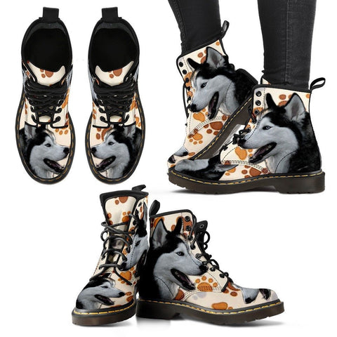 Siberian Husky Print Boots For WomenExpress Shipping