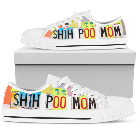 Shih Poo Mom Print Low Top Canvas Shoes for Women