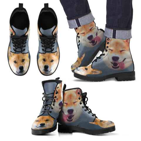 Cute Shiba Inu Print New Leather Boots For Men Express Shipping