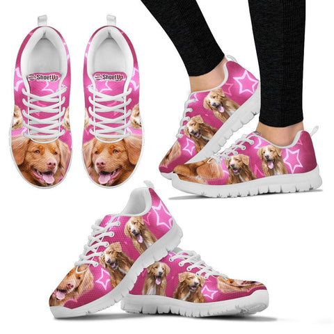 Nova Scotia Duck Tolling Retriever On Pink Print Running Shoes For Women