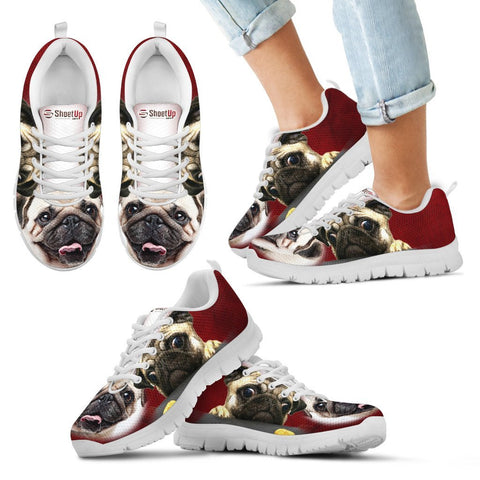 Funny Pug Print Running Shoes For Kids And Women