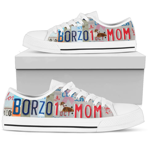 Borzoi dog Print Low Top Canvas Shoes for Women