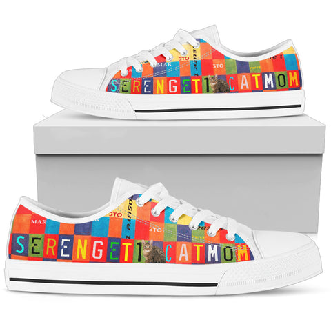 Serengeti cat Mom Print Low Top Canvas Shoes For Women