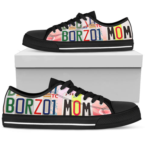 Lovely Borzoi Mom Low Top Canvas Shoes For Women