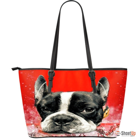 Boston Terrier(Dog) Large Leather Tote Bag3D Print