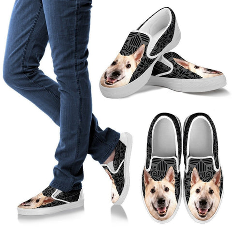 Norwegian Buhund Dog Print Slip Ons For WomenExpress Shipping