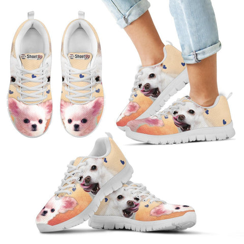White Chihuahua Print Running Shoes For Kids