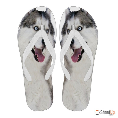 Siberian Husky Flip Flops For Women