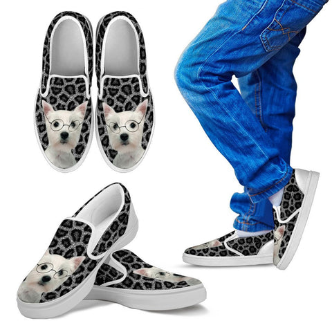 West Highland White Terrier Print Slip Ons For Kids
