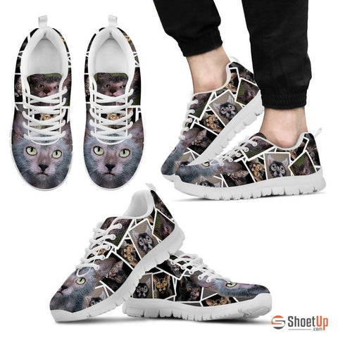 Lykoi Cat Print (White/Black) Running Shoes For Men