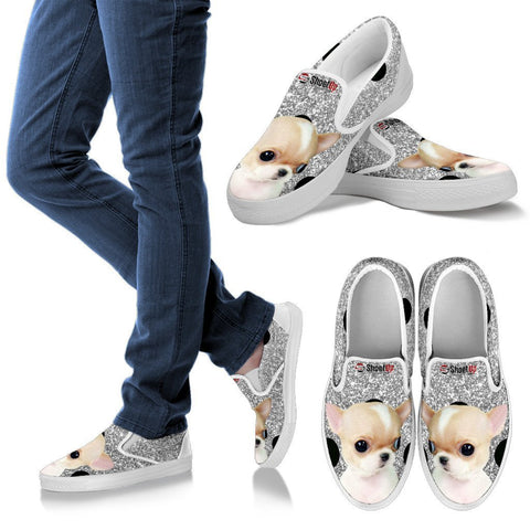 Chihuahua Dog Silver Print Slip Ons For Women