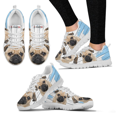 Pug Dog Blue White Print Sneakers For Women