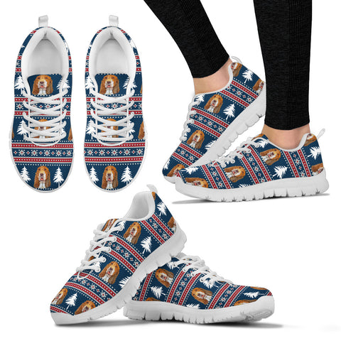 Basset Hound Christmas Pattern Print Running Shoes For Women