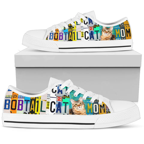 Women's Low Top Canvas Shoes For American Bobtail Cat Mom