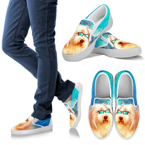 Old English Sheepdog Print Slip Ons For Women