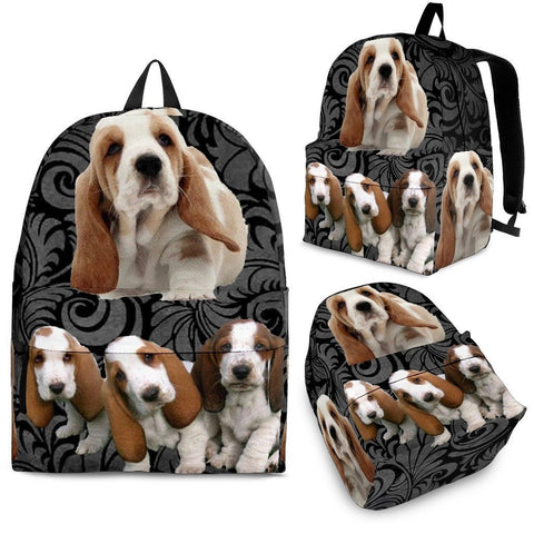 Basset Hound With Puppies Print BackPack Express Shipping