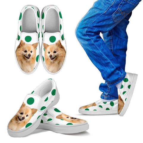 Pomeranian Dots Print Slip Ons For KidsExpress Shipping