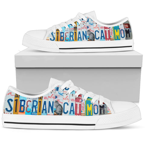 Siberian Cat Print Low Top Canvas Shoes For Women