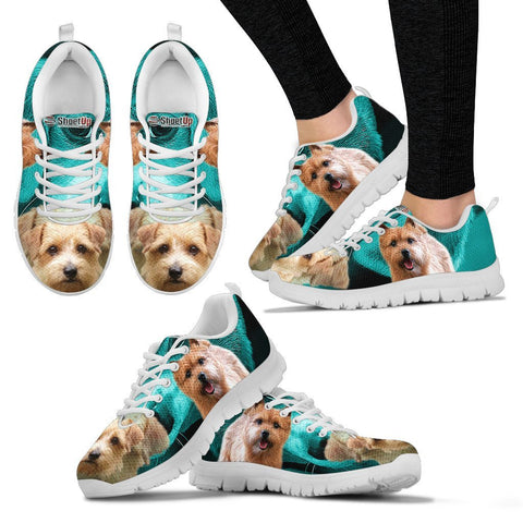 Norwich Terrier On Deep Sky Blue Print Running Shoes For Women