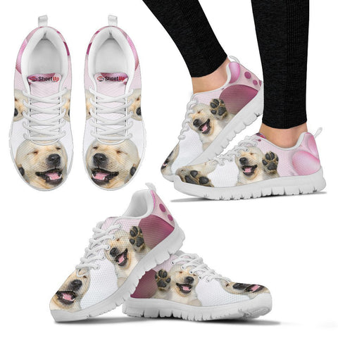 Labrador Retriever Pink White Print Running Shoes For Women