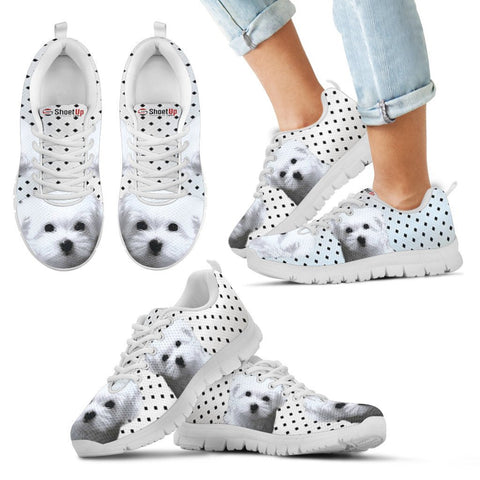 Maltese Dog Black Dots Print Running Shoes For Kids