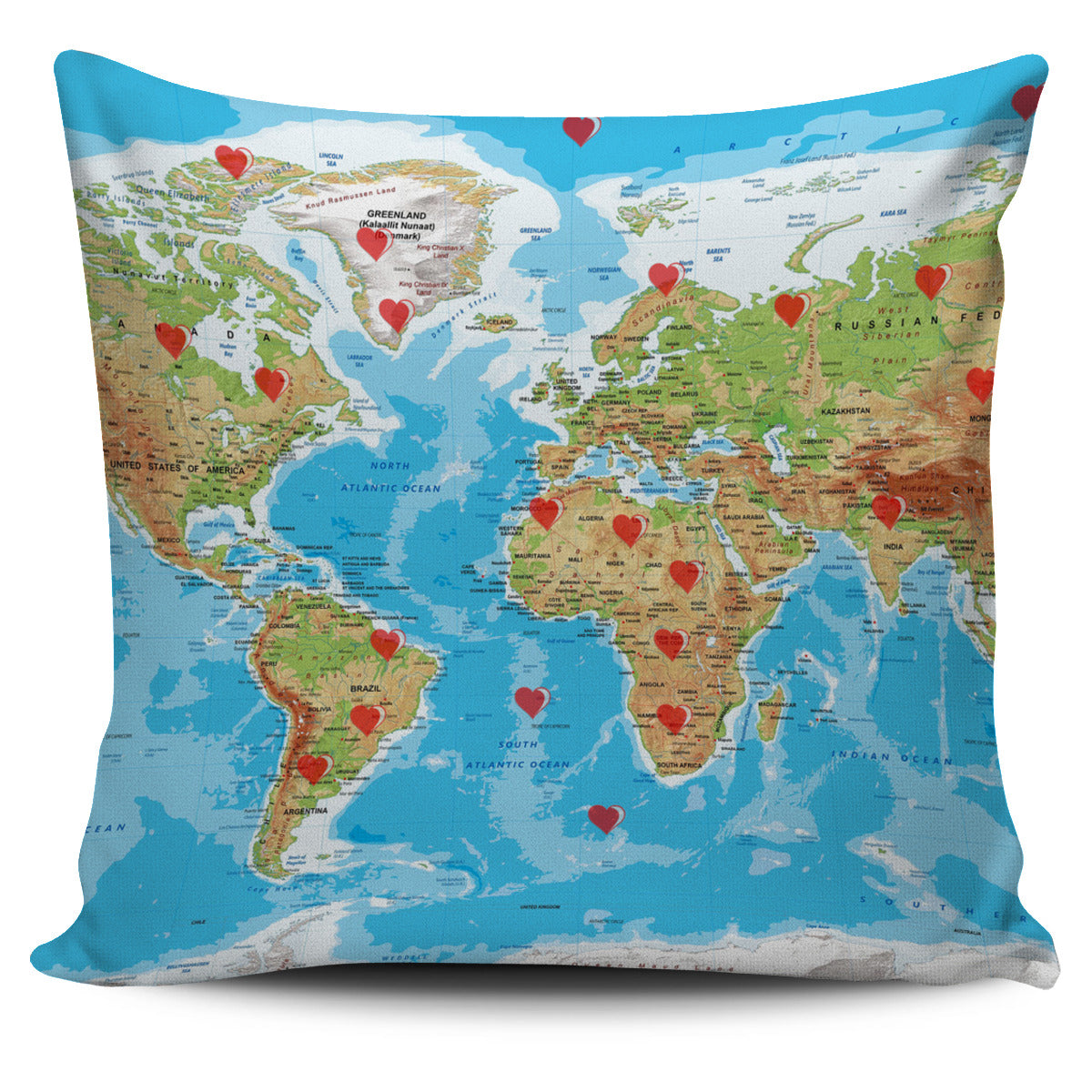 Valentine's Day Special World Map Print Pillow Cover