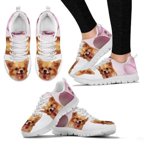 Chihuahua Pink White Print Running Shoes For Women